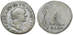 Ancient Coins - Vespasian AR Denarius, Judaea Capta, AVF/F, 70 C.E.