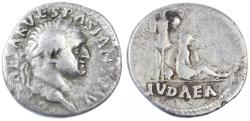 Ancient Coins - Vespasian AR Denarius, Judaea Capta, AVF, 70 C.E.