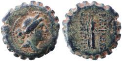 Ancient Coins - Demetrios I Soter Serrate AE, GVF/VF, 162 - 150 B.C.E.