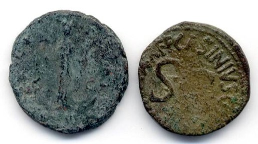 Ancient Coins - Lot of Two Imperial AE, Augustus and Antoninus Pius, GREAT Stocking Stuffer
