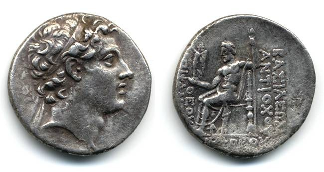 Ancient Coins - Antiochus IV Epiphanes Tetradrachm, VF+/VF, Toned, of Hannukah infamy