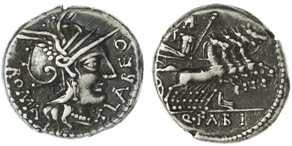 Ancient Coins - Q. Fabius Labeo AR Denarius, Choice VF+, 124 B.C.E.