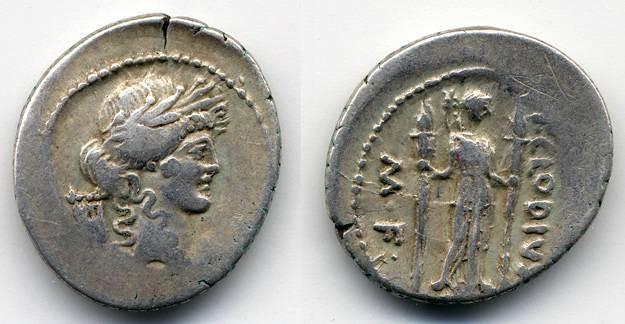 Ancient Coins - P Clodius M.F. Turrinus, 42 B.C.E. AR Denarius, AVF