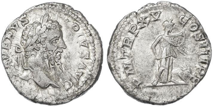 Ancient Coins - Septimius Severus AR Denarius, Very Fine+, 207 C.E.