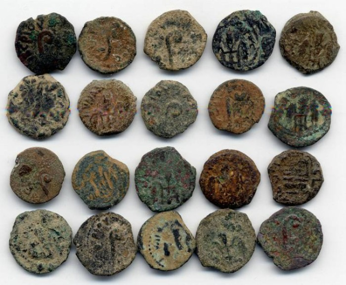 Ancient Coins - Dealers LOT of 20 Uncleaned Pontius Pilate Coins. Great Deal!!!
