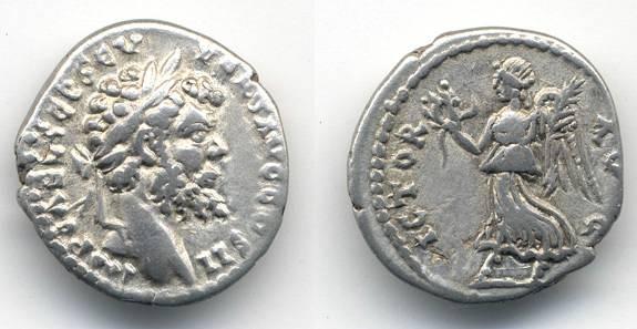 "Ancient Coins - Septimius Severus AR Denarius, ""Victory"""
