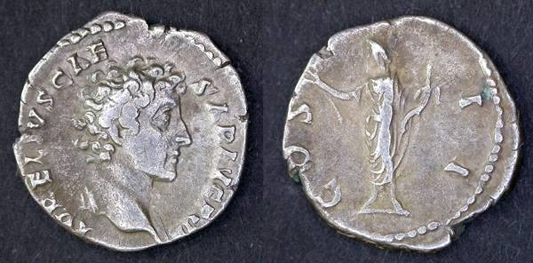 Ancient Coins - Marcus Aurelius as Caesar Denarius, VF