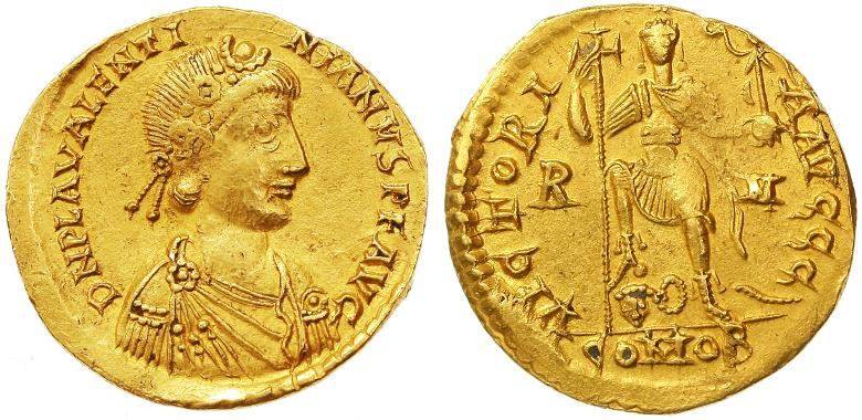 Ancient Coins - Valentinian III AV Gold Solidus, Very Fine, Rome Mint, 426 - 455 C.E.