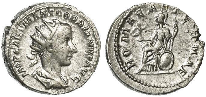 Ancient Coins - Gordian III AR Antoninianus, GVF, unusually thick & heavy flan, Early 240 C.E.