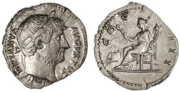 Ancient Coins - Hadrian AR Denarius, AEF, Rome mint, 125 - 128 C.E.