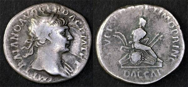 Ancient Coins - Trajan AR Denarius, Dacian captive with arms bound behind, AVF