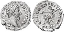 Ancient Coins - Marcus Aurelius AR Denarius, Lustrous EF, Early Reign 161/162 C.E.