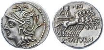 Ancient Coins - L. Appuleius Saturninus AR Denarius, Extremely Fine, Pedigreed, 104 B.C.E.