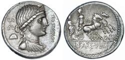 Ancient Coins - L. Farsuleius Mensor AR Denarius, CHOICE AEF, 75 B.C.E.