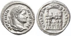Ancient Coins - Maximian AR Argenteus, Extremely Fine, 294 C.E.