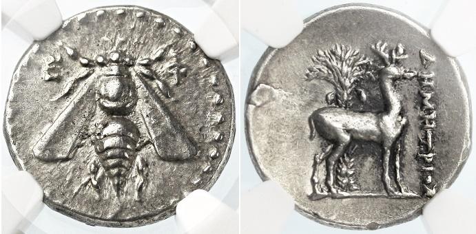 """Ancient Coins - Ephesos, Ionia AR """"Bee"""" Drachm, NGC AU, 5/5, 4/5, 202 - 150 B.C.E."""