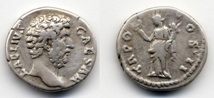 Ancient Coins - Aelius Caesar AR Denarius, VF/AVF, lightly toned