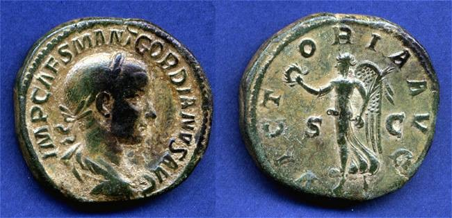 "Ancient Coins - Gordian III Sestertius, VF, Centered Beauty, ""Victoria"""
