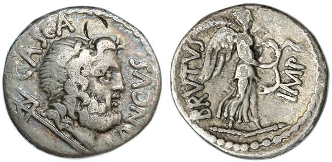 Ancient Coins - M. Junius Brutus AR Denarius, RARE, AVF, 42 B.C.E.