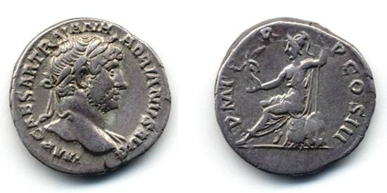 "Ancient Coins - Hadrian AR Denarius ""Roma"" seated left holding Victory"