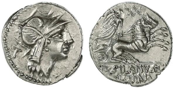 Ancient Coins - D. Junius Silanus AR Denarius, SUPERB lustrous EF, 91 B.C.E.