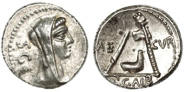 Ancient Coins - P. Galba AR Denarius, CHOICE Bold Extremely Fine, 69 B.C.E.