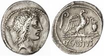 Ancient Coins - Q. Cassius Longinus AR Denarius, Toned VF+, 55 B.C.E.