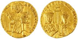 Ancient Coins - Basil I the Macedonian with Constantine AV Gold Solidus, VF, 867 - 886 C.E.