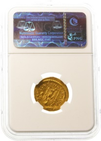 Ancient Coins - Maurice Tiberius AV Gold Solidus, NGC MINT STATE, 583 - 602 C.E.