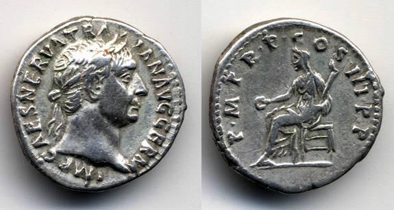 Ancient Coins - Trajan AR Denarius, Nice VF