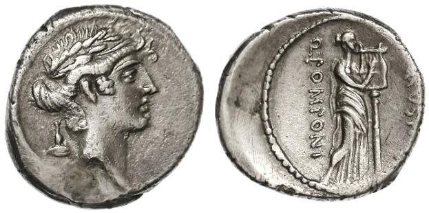Ancient Coins - Q. Pompnius Musa AR Denarius, VF+, Muse of poetry with lyre, 66 B.C.E.