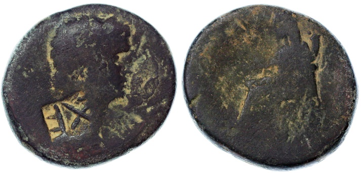 Ancient Coins - Legion X Fretensis on Nero & Agrippina AE by Agrippa II, Very SCARCE, Fine, 54 - 59 C.E.