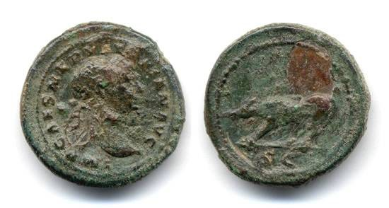 Ancient Coins - Trajan Quadrans, SCARCE, left walking boar