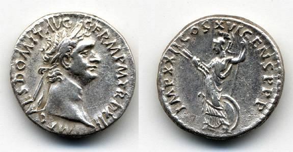 Ancient Coins - Domitian AR Denarius, Nice VF
