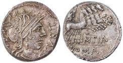Ancient Coins - Q. Curtius and M. Silanus AR Denarius, About Extremely Fine, 116/115 B.C.E.