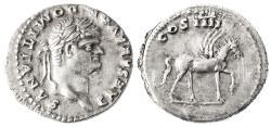 "Ancient Coins - Domitian as Caeasar ""Pegasus"" AR Denarius, EF, 76/77 C.E."