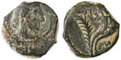 Ancient Coins - Aretas IV, Huldu and Phasael Nabataean AE, AVF/VF, 5/4 B.C.E.