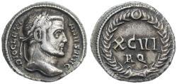 Ancient Coins - Diocletian AR Argenteus, Very RARE!, VF/VF+, Circa. 300 C.E.