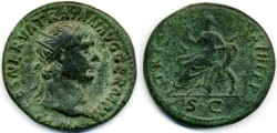 "Ancient Coins - Trajan AE Dupondius, VF/F, 101/102 C.E., ""Abundantia"""