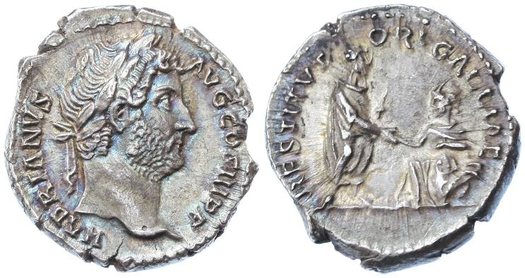 """Ancient Coins - Hadrian AR Denarius, Toned Extremely Fine, """"RESTITVTORI GALLIAE"""", 134 - 138 C.E."""