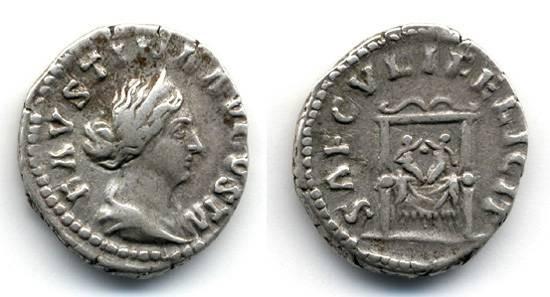 Ancient Coins - Faustina Junior wife of Marcus Aurelius Denarius, Two infants on throne