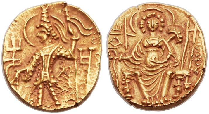 Ancient Coins - Shaka Gold AV Dinar, Indian, Kushan, Choice Extremely Fine, see notes, Circa. 325 - 345 C.E.