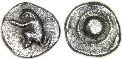 Ancient Coins - Thraco - Macedonian AR Tetartemorion (3/8 obol), Choice EF, EXTREMELY RARE, see notes, Mid 5th Century B.C.E.