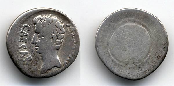 Ancient Coins - Augustus Denarius, Scarce type, Shield