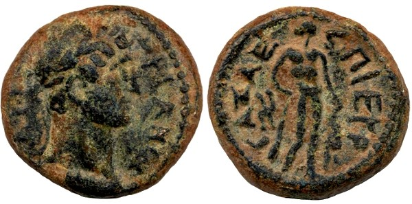 Ancient Coins - Gaza, Hadrian, Extremely Fine, SUPERP with Perfect Centering, 134/135 C.E., struck last year of Bar Kochba War