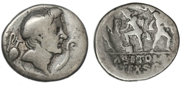Ancient Coins - Sextus Pompey AR Denarius, Head of Pompey the Great, Good Fine, Very SCARCE, 42 - 40 B.C.E.