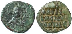Ancient Coins - Byzantine Anonymous AE Follis, Very Fine, 976-1025 C.E.