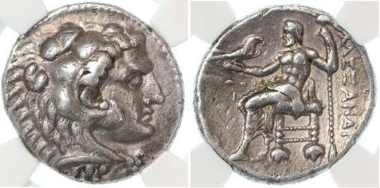 Ancient Coins - Alexander the Great AR Tetradrachm, Ch. VF, NGC encapsulated, Ake (Akko) Mint
