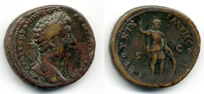Ancient Coins - Marcus Aurelius Sestertius, AVF, provenanced ex. Boston Museum of Fine Arts