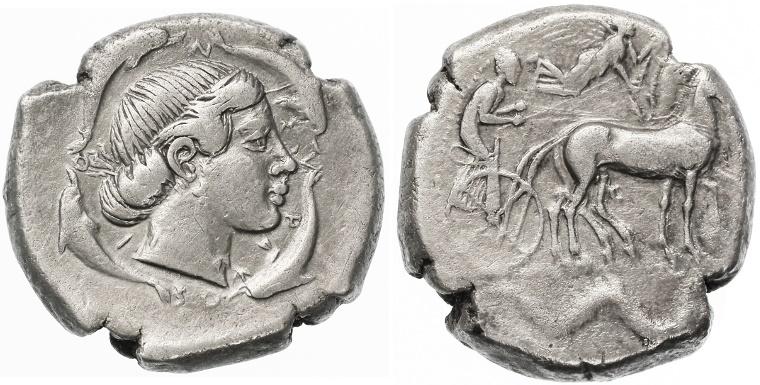 Ancient Coins - Sicily, Syracuse AR Tetradrachm, GVF, Circa 450 B.C.E.